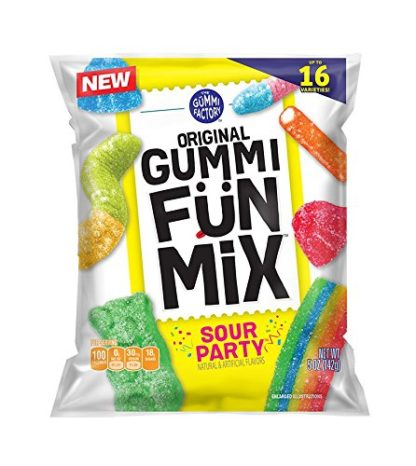 white bag, colorful gummy candy on front on bag, sour party.
