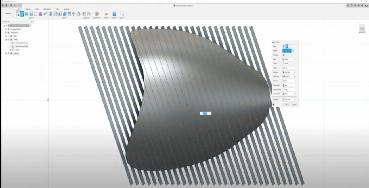 making the lines for scales in Fusion 360